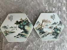 Pair Of Antique Chinese Famille Rose Porcelain Landscape Square Tile Age Unknown