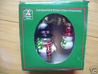 Handpainted Blown Glass 2 Ornaments Snowman By Christmas House New In Box