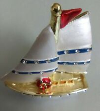 New ListingSailboat Pill Box Bejeweled Gold White Blue Red Small Trinket Box Collectable