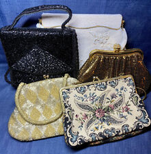 Vintage 1950s Purse Lot 5 Tapestry Beaded Bags Clutch Walborg Germany, Nordstrom