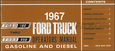 1967 Ford F100 F250 F350 Truck Owners Manual Pickup Custom Styleside Flareside