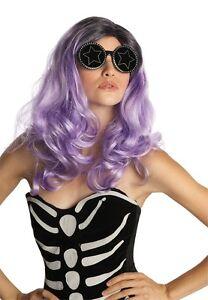 Womens Lady Gaga Parody Wig Celebrity Hair Pink Green Purple Costume Fancy Dress