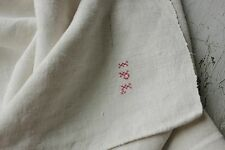 Antique French PURE linen soft monogram hand / kitchen towel 18th / 19th IPL