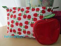 2pc Clinique Red Apple Fruit Cosmetic Bag and Coin Purse