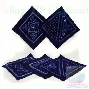 Square 53cmx53cmHandmade Indigo Tie Dye Rural Style Flower Kerchief Handkerchief
