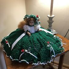 Vintage Musical Collectable Doll With Hand Made Crocheted Hat And Dress