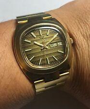 NOS 1970's Waltham Swiss Made Quartz Goldtone Brown Dial Watch