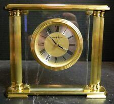 Vintage Howard Miller Solid Brass & Beveled Glass Column Clock Model 613627 Exc