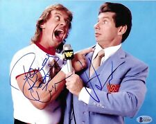 """""""Rowdy"""" Roddy Piper & Vince Mcmahon duel signed 8x10 Photo! - Beckett #G13367"""