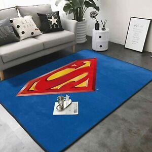 Superman Logo Rug Large Rug Soft Floor Mat Living Room Bedroom Flannel Carpet