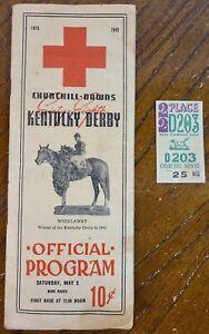 1942 OFFICIAL PROGRAM CHURCHHILL DOWNS KENTUCKY DERBY PROGRAM W/TICKET READ