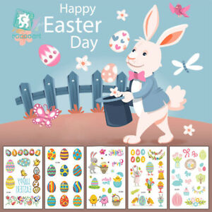 Cartoon Temporary Egg Animal Tattoo Stickers Kids Happy Easter Party Stickers