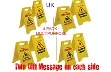 4 PACK CAUTION WET FLOOR SIGN CLEANING IN PROGRESS YELLOW WARNING CONE UK