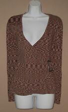 Womens Size Medium Long Sleeve Marled Thin Knit Faux Wrap Fall Winter Sweater