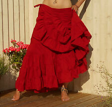 HIPPY BOHO GYPSY WRAP MAXI SKIRT, POPPY RED, SIZE 8 10 12 14 BOHEMIAN GODDESS