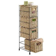 VonHaus 4 Tier Seagrass Basket Drawer Storage Tower Unit with Metal Frame