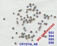MIX FB1 *** 80 strass Swarovski fond plat mix dimensions:SS3, 4, 5, 6 CRYSTAL AB
