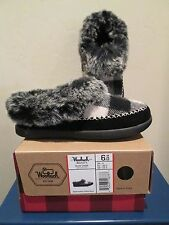 WOOLRICH DOVE CREEK B&W BUFFALO CHECK WOOL SLIPPERS WOMENS SHOES SIZE 6 M NEW