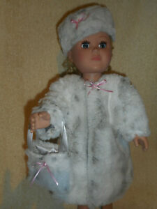 18 doll clothes fits American girl, fur coat, hat and purse - fully satin lined