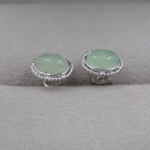 New 18k GP Alloy With Light Green Chalcedony Women Ellipse Figure Stud Earrings