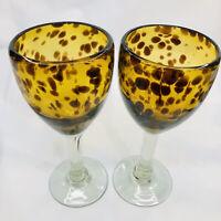 2 wine glasses Amber Brown hand blown Mexican art tortoise shell Animal print