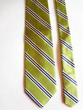 """J. CREW - LIME WITH WHITE/NAVY STRIPES - SILK NECKTIE - 58""""LONG 3 1/2""""WIDE"""
