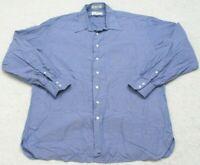 John W. Nordstrom Blue Mans Dress Shirt Long Sleeve Button Front 17 35 X-Large