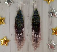 Handmade beaded earrings Ombre earrings Fringe earrings Seed bead earrings
