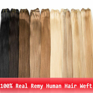 """16"""" -30"""" Weave Weft Hair Extensions 100% Real Remy Human Hair Straight Hair 110g"""