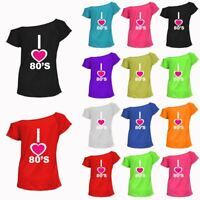 Ladies I Love The 80s T-Shirt 1980's Fancy Dress Up Costume Festival Womens Top
