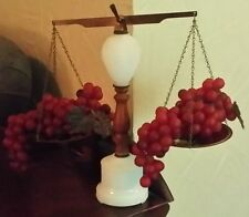 Mid Century Modern Milkglass Glass Solid Brass Balance Scales of Justice 2 Grape