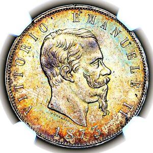 Top Pop 1873 M BN Vittorio Emanuele II Italy Five 5 Lire 5L KM 8.3 NGC MS63
