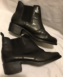 8 MIA Windsor Black Ankle Short Smith Genuine Leather Chelsea Boots QUALITY EUC