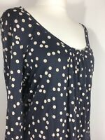 BODEN 14 Navy Cream Polkadot Spotted Blouse Top Relaxed Fit
