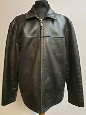 A913 MENS BEN SHERMAN BLACK LEATHER CASUAL JACKET LARGE L EU 52-54