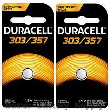 2 x 303/357 Duracell Silver Oxide Batteries (AG13, SB-A9, SR1154, SR44SW, WS14)