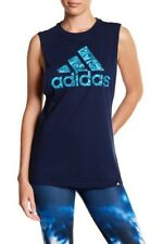 NEW ADIDAS WOMEN'S BOS FLORAL LOGO GRAPHIC PRINT TANK TOP COLLEGIATE NAVY BLUE M