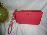 Coach 87587 BM02 Pebbled Leather Double Zip Wallet Wristlet Clutch Poppy Pink