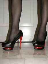 Sexy plataforma de cuero artificial de alta heels rojo-negro 37 párrafo Stiletto 13 cm