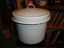 Vintage Enamel Ware Bucket lid 11x9 Wood Handle white Can Pot Canning Steaming