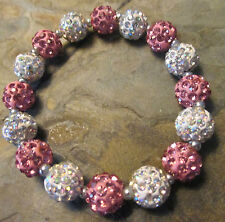 *Bling*Bling*Crystal-Rhinestone--Pink-Iridescent-Bracelet