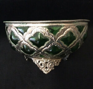 VINTAGE MOROCCAN SILVER COLOUR AND DARK GREEN BLOWN GLASS BOWL