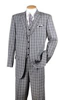 Men's 3 Pc Fashion Suit With Vest And Pants Check Design Brown Black Navy 5802V6
