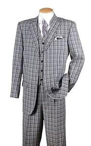 Men's 3 Pc Fashion Suit With Vest And Pants Check Design Brown Black Navy 5802V6