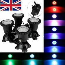 4X Aquarium Fish Tank Pond Led Rgb SpotLight Garden Fountain Underwater Light Uk