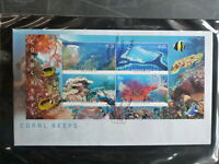 AUSTRALIA 2013 CORAL REEFS 4 STAMP MINI SHEET FDC FIRST DAY COVER