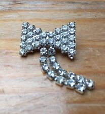 Unusual Vintage Rhinestone Brooch/Art Deco Style/Bow/Hanging Tails Sparkly/Retro