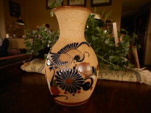 "Tonala 8"" Vase Bird Floral Flower Mexico S Mex Stoneware Pottery"