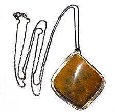 """ANTIQUE OLD FOREIGN LARGE AMBER PENDANT STERLING SILVER 30"""" CHAIN NECKLACE"""
