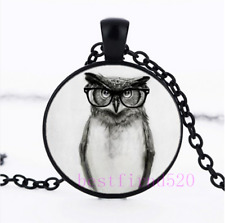 Owl Photo Cabochon Glass Silver/Black/Bronze Chain Pendant Necklace#19